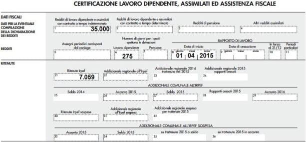 Cu 2016 come indicare i redditi dei non residenti ipsoa - Certificazione lavoro autonomo provvigioni e redditi diversi nel 730 ...